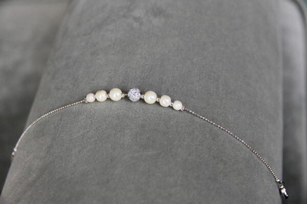 Armband Braut mit Perlen Straßstein auf Kugelkette