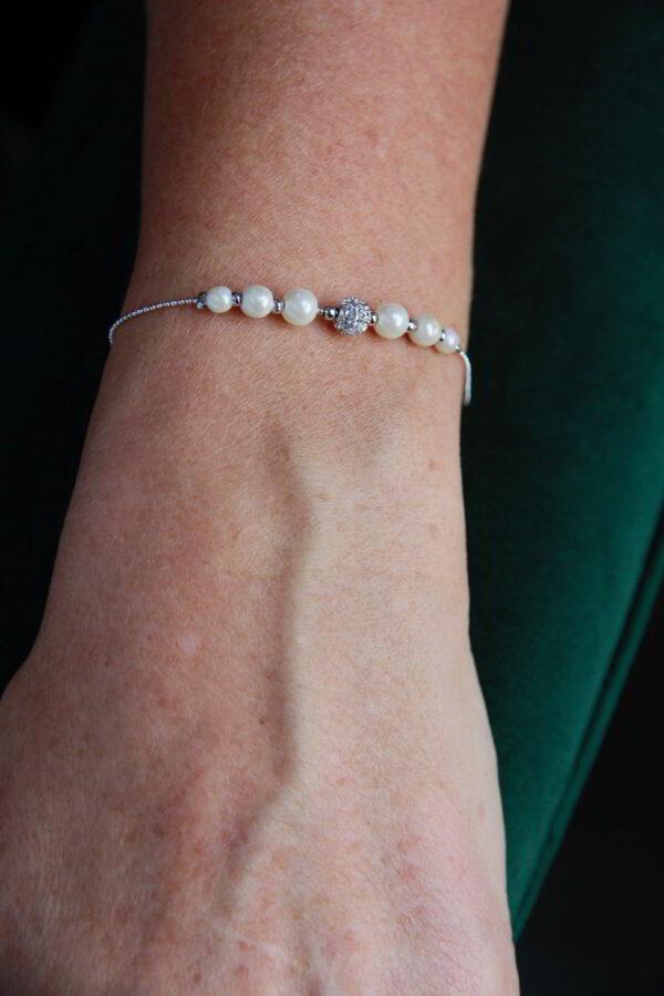 Braut Armband mit Perlen Straßstein auf Kugelkette