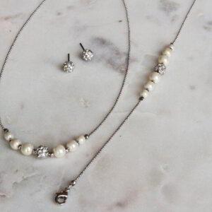 Brautschmuck Set Kette Ohrring Armband Perle Straß auf Kugelkette (2)