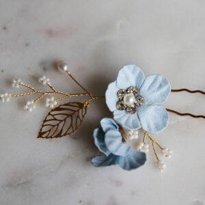 Braut Haarnadel mit blauen Blüten gold
