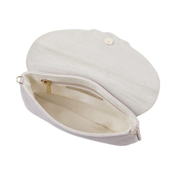 Wildledertasche aufeklappt in ivory