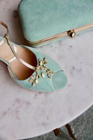 Wildledertasche mint und Schuhe mint