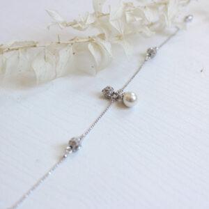 Brautschmuck Armband Charm mit Perle und Straßkugeln Brautarmband eleganter Hochzeitsschmuck