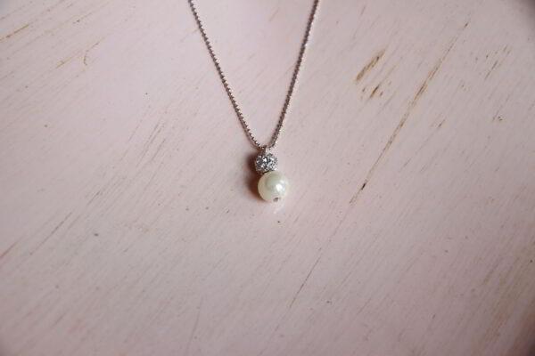 Brautschmuck Kette mit Perle und Straßperle