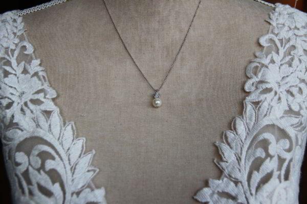 Brautkette mit Perle Straßkugel auf Kugelkette