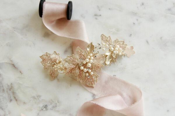Haarschmuck Braut gold rosa