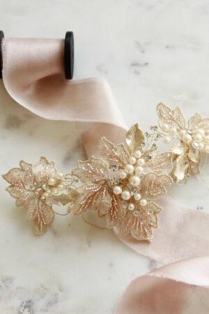 Brauthaarschmuck rosa gold