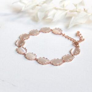 Armband rosegold Brautschmuckset Brautschmuck rosa mit Edelsteinen vintage (5)