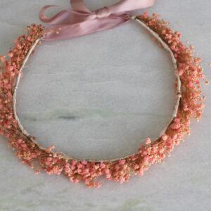 Boho Haarkranz Schleierkraut natürlicher Haarschmuck rosa echte Blumen (6)