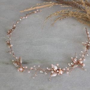 Brauthaarschmuck rosegold Haardraht für die Braut rosa rose (8)