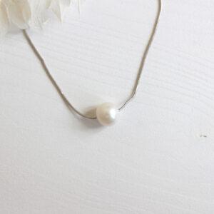 Brautkette ivory Perle silber Kettte Süßwasserperle