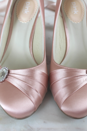 Brautschuh rosa Pumps niedrig bequemer Schuh für die Hochzeit (1)