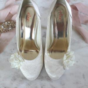 Brautschuhe Pumps aus Spitze High Heels mit Blume (5)