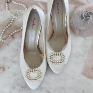 Brautschuhe ivory Satinschuh mit Perlen und Tüll Pumps creme Brautpumps (4)