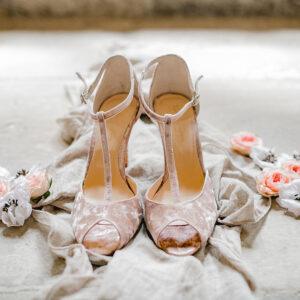 Brautschuhe samt mit Glitzerheels mauve rosa Rachel Simpson Olivia