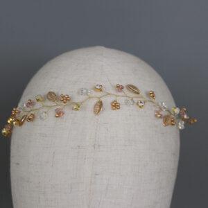 Haardraht gold rosa boho Brautaccessoires (1)