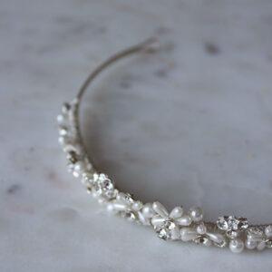 Haarreif Diadem mit Perlen und Straß Brautaccessoires