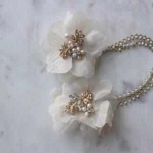 Haarschmuck Braut vintage boho Blüten gold mit Straß