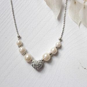 Kette mit Herzanhänger Brautschmuck silber ivory Perlen Herz Brautkette (2)