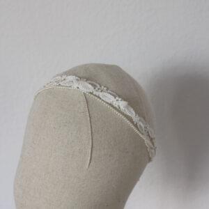 Vintage boho Haarband ivory gehäckelt mit Perlen
