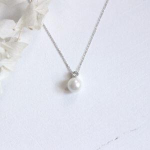 Brautkette ivory mit Perle und kleinem Zirkonia Straßstein schlicht elegante Brautschmuck (1)