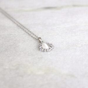 Brautkette silber Amulett mit Straß (1)