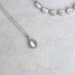 Brautkette silber Amulett mit Straß (4)