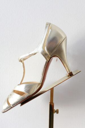 Brautschuh Leder weich gold Peeptoe T-Bar Rachel Simpson Ginger