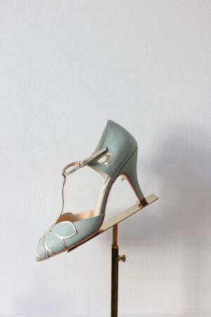 Brautschuhe Peeptoe mint aus Leder Art Deco gold Leder T-Bar