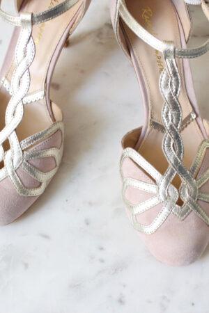 Brautschuhe rosa Wildleder Hochzeitsschuhe T-Bar gold rosa bequeme Schuhe für die Braut Rachel Simpson Rosita