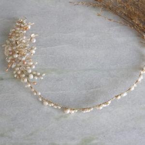 Haardraht Brauthaarschmuck Perlen gold mit Blüten boho Haarschmuck (7)