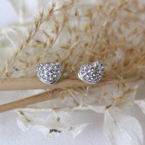 Ohrstecker für die Braut Brautohrringe Herz mit kleinen Straßsteinen (2)