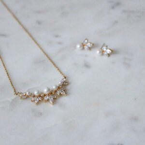 Brautschmuckset Kette Ohrringe Great Gatsby 20er Jahre elegante Perlenohrringe gold