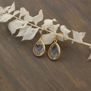 Hängeohrringe gold mit klarem Stein und kleinem Straßstein moderner Ohrring (1)