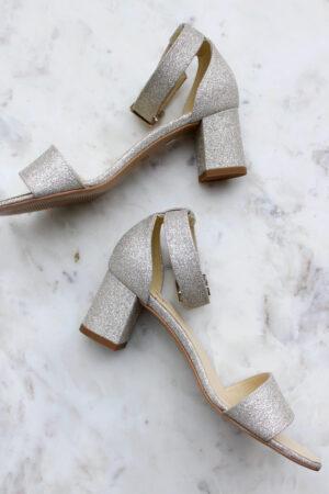 Sandale Riemchen Brautschuh flach Glitter Sandalete (3)